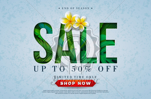 Summer Sale Design with Toucan Bird, Tropical Palm Leaves and Flower on Green Background. Vector Special Offer Illustration with Summer Holiday Elements for Coupon, Voucher, Banner, Flyer, Promotional Poster, Invitation or greeting card. - Royalty Free Vector Illustration