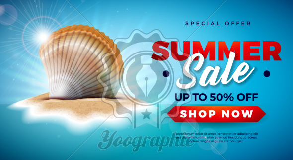 Summer Sale Design with Shell on Tropical Island Background. Vector Special Offer Illustration with Blue Ocean Landscape for Coupon, Voucher, Banner, Flyer, Promotional Poster, Invitation or greeting card. - Royalty Free Vector Illustration
