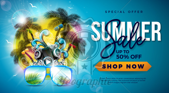Summer Sale Design with Palm Trees and Sunglasses on Tropical Island Background. Vector Special Offer Illustration with Speaker and Blue Ocean Landscape for Coupon, Voucher, Banner, Flyer, Promotional Poster, Invitation or greeting card. - Royalty Free Vector Illustration