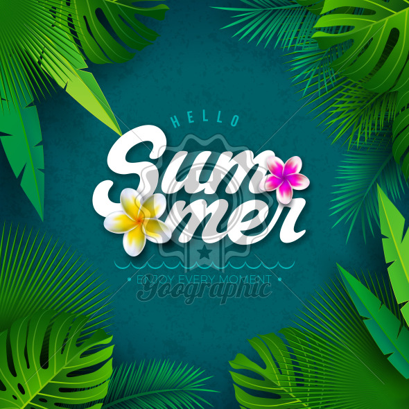 Vector Hello Summer Illustration with Typography Letter and Tropical Palm Leaves on Blue Background. Exotic Plants and Flower for Holiday Banner, Flyer, Invitation, Brochure, Poster or Greeting Card. - Royalty Free Vector Illustration