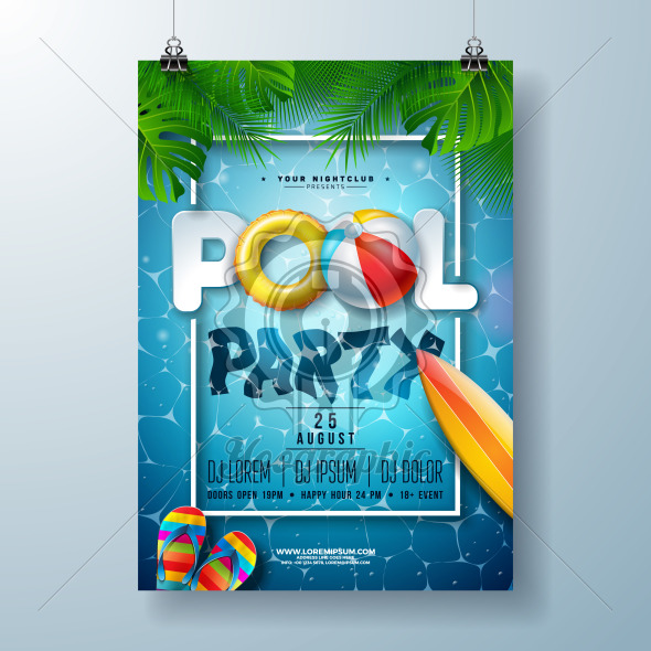 Summer pool party poster design template with palm leaves, water, beach ball and float on blue ocean landscape background. Vector holiday illustration for banner, flyer, invitation, poster. - Royalty Free Vector Illustration