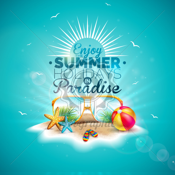 Enjoy the Summer Holiday Illustration with Typography Letter and Sunglasses on Ocean Blue Background. Vector Design with Starfish and Beach Ball on Paradise Island for Banner, Flyer, Invitation, Brochure, Poster or Greeting Card. - Royalty Free Vector Illustration