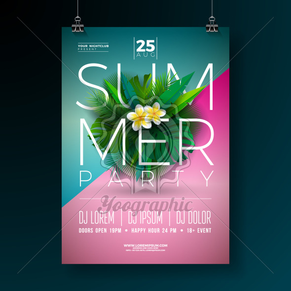 Vector Summer Party Flyer Design with Flower and Tropical Palm Leaves on Blue and Pink Background. Summer Holiday Illustration with Exotic Plants and Typography Letter for Banner, Flyer, Invitation or Poster. - Royalty Free Vector Illustration