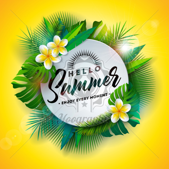 Hello Summer Illustration with Typography Letter and Tropical Plants on Yellow Background. Vector Holiday Design with Exotic Palm Leaves and Phylodendron for Banner, Flyer, Invitation, Brochure, Poster or Greeting Card. - Royalty Free Vector Illustration