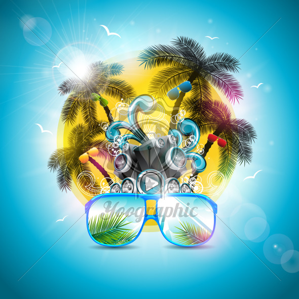 Summer Holiday Design with Speaker and Sunglasses on Blue Background. Vector Illustration with Tropical Palm Trees and Sunset for Banner, Flyer, Invitation, Brochure, Poster or Greeting Card. - Royalty Free Vector Illustration