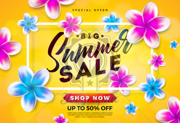 Summer Sale Design with Flower and Typography Letter on Yellow Background. Vector Holiday Illustration with Special Offer Typography Letter for Coupon, Voucher, Banner, Flyer, Promotional Poster, Invitation or Greeting Card. - Royalty Free Vector Illustration