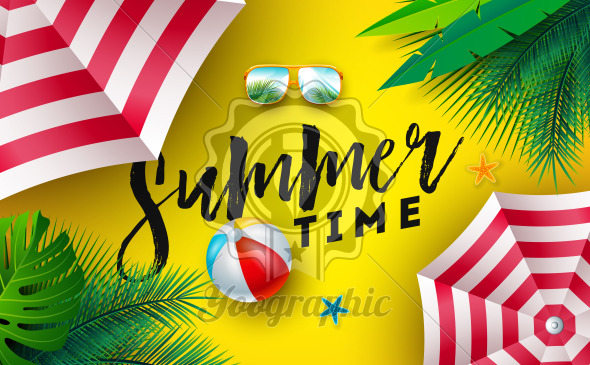 Summer Time Illustration with Sunshade, Beach Ball and Sunglasses on Sun Yellow Background. Vector Tropical Holiday Design with Exotic Palm Leaves and Typography Letter for Banner, Flyer, Invitation, Brochure, Poster or Greeting Card. - Royalty Free Vector Illustration
