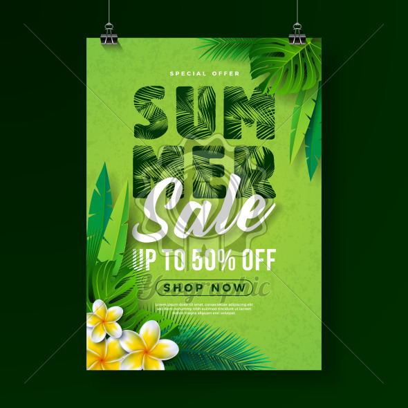 Summer Sale Poster Design Template with Flower and Exotic Leaves on Green Background. Tropical Floral Vector Illustration with Special Offer Typography for Coupon, Voucher, Banner, Flyer, Promotional Poster, Invitation or greeting card. - Royalty Free Vector Illustration