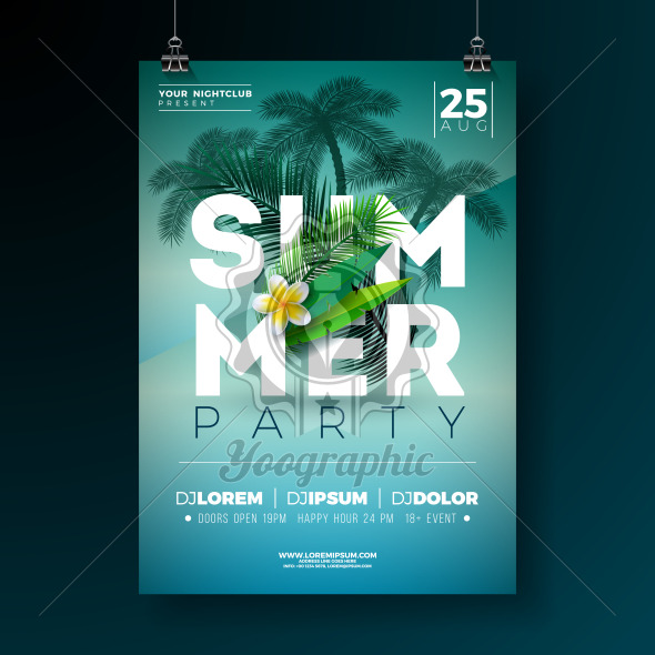 Vector Summer Party Flyer Design with Flower and Tropical Palm Trees on Blue Background. Summer Holiday Illustration with Exotic Plants and Typography Letter for Banner, Flyer, Invitation or Poster. - Royalty Free Vector Illustration