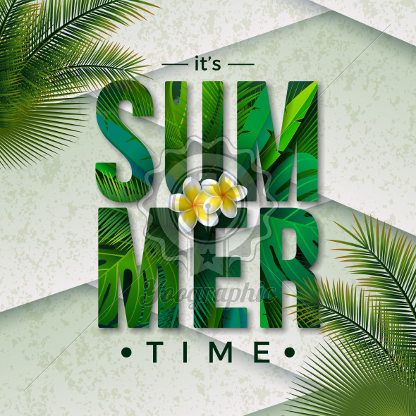 Vector Summer Time Illustration with Typography Letter and Tropical Palm Leaves on Nature Green Background. Exotic Plants and Flower for Holiday Banner, Flyer, Invitation, Brochure, Poster or Greeting Card. - Royalty Free Vector Illustration