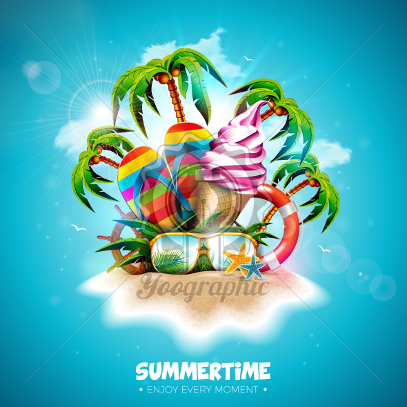 Vector Summertime Holiday Illustration with Ice Cream, Flip-Flop and Tropical Palm Trees on Ocean Blue Background. Typography Letter, Lifebelt, Beach Ball and Surf Board on Paradise Island for Banner, Flyer, Invitation, Brochure, Poster or Greeting Card. - Royalty Free Vector Illustration