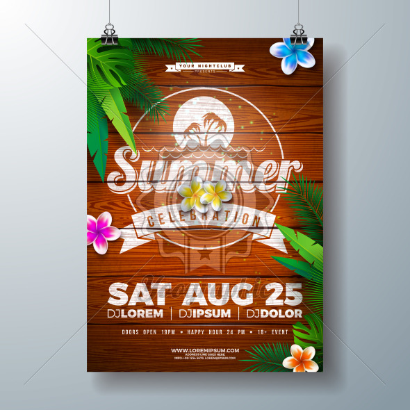 Vector Summer Party Flyer Design with Flower and Tropical Palm Leaves on Vintage Wood Background. Summer Holiday Illustration with Exotic Plants and Typography Letter for Banner, Flyer, Invitation or Poster. - Royalty Free Vector Illustration