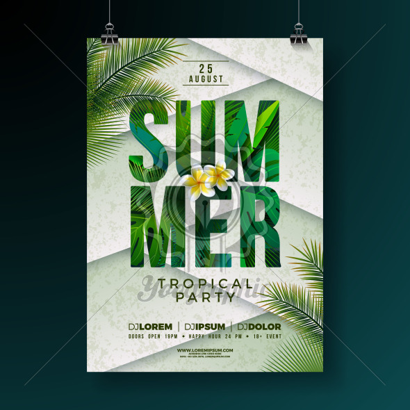 Vector Summer Party Flyer Design with Flower and Tropical Palm Leaves on Abstract Background. Summer Holiday Illustration with Exotic Plants and Typography Letter for Banner, Flyer, Invitation or Poster. - Royalty Free Vector Illustration