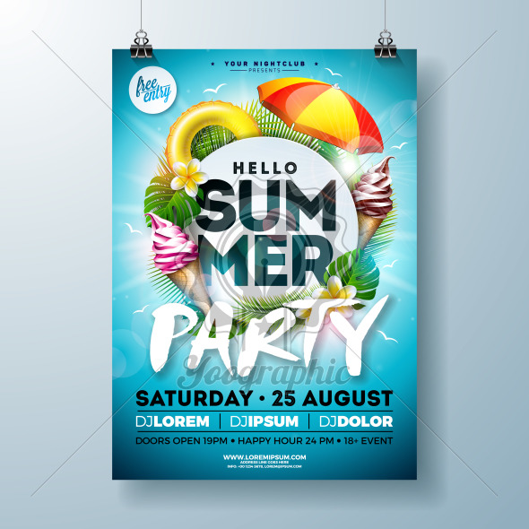 Vector Summer Party Flyer Design with Typography Letter, Sunshade and Ice Cream on Ocean Blue Background. Summer Vacation Holiday Illustration Template for Banner, Flyer, Invitation or Celebration Poster. - Royalty Free Vector Illustration