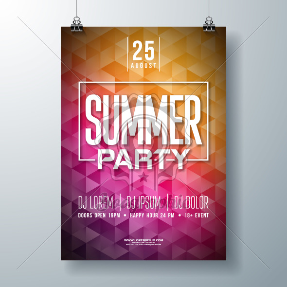 Vector Summer Celebration Party Flyer Design with Typography Letter on Abstract Background. Summer Holiday Illustration for Banner, Flyer, Invitation or Promotional Poster. - Royalty Free Vector Illustration