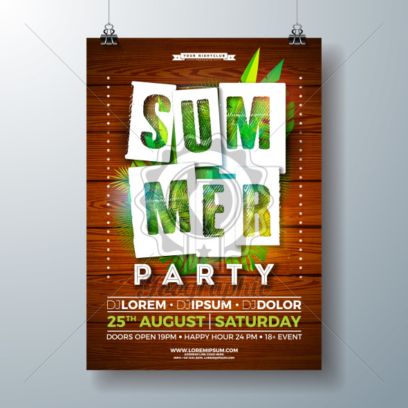Vector SummerParty Flyer Design with Tropical Palm Leaves and Paper Cutting Typography Letter on Vintage Wood Background. Summer Holiday Illustration with Exotic Plants for Banner, Flyer, Invitation or Celebration Poster. - Royalty Free Vector Illustration