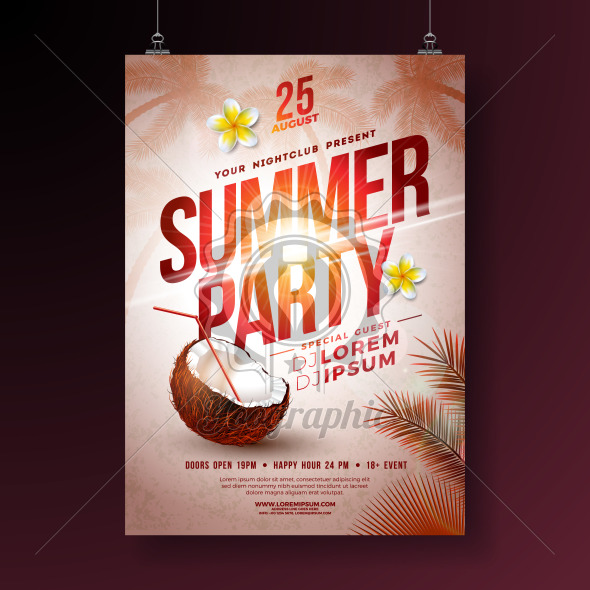Vector Summer Party Flyer Design with Flower, Coconut and Tropical Palm Trees on Shiny Sunset Background. Summer Holiday Illustration with Exotic Plants and Typography Letter for Banner, Flyer, Invitation or Poster. - Royalty Free Vector Illustration