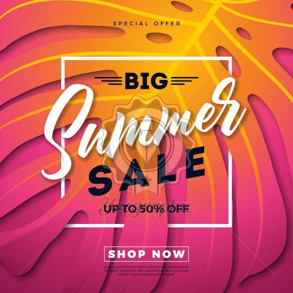 Summer Sale Design with Exotic Palm Leaves and Typography Letter on Exotic Phylodendron Leaves Background. Tropical Holiday Vector Special Offer Illustration with Coupon, Voucher, Banner, Flyer, Promotional Poster, Invitation or greeting card. - Royalty Free Vector Illustration