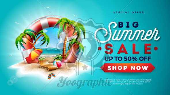 Summer Sale Design with Lifebelt and Exotic Palm Trees on Tropical Island Background. Vector Special Offer Illustration with Flower, Beach Ball, Sunshade and Blue Ocean Landscape for Coupon, Voucher, Banner, Flyer, Promotional Poster, Invitation or greeting card. - Royalty Free Vector Illustration