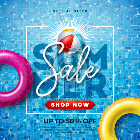 Summer Sale Design with Typography Letter and Float on Water in the Tiled Pool Background. Vector Vacation Illustration with Special Offer Typography for Coupon, Voucher, Banner, Flyer, Promotional Poster, Invitation or greeting card. - Royalty Free Vector Illustration