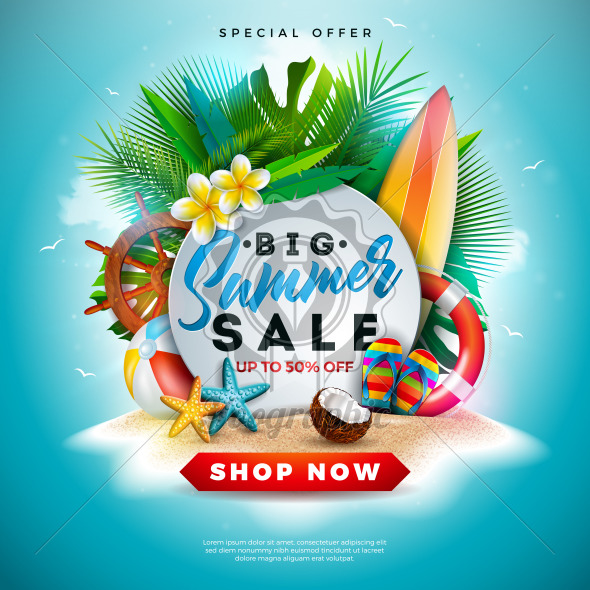 Summer Sale Design with Flower, Beach Holiday Elements and Exotic Leaves on Ocean Blue Background. Tropical Floral Vector Illustration with Special Offer Typography for Coupon, Voucher, Banner, Flyer, Promotional Poster, Invitation or greeting card. - Royalty Free Vector Illustration