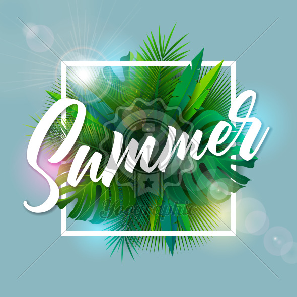 Summer Illustration with Typography Letter and Tropical Palm Leaves on Blue Background. Vector Holiday Design with Exotic Plants and Phylodendron for Banner, Flyer, Invitation, Brochure, Poster or Greeting Card. - Royalty Free Vector Illustration