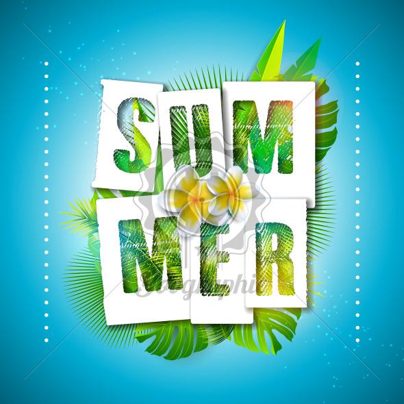 Vector Summer Holiday Illustration with Typography Letter and Tropical Palm Leaves on Ocean Blue Background. Exotic Plants and Flower for Banner, Flyer, Invitation, Brochure, Poster or Greeting Card. - Royalty Free Vector Illustration