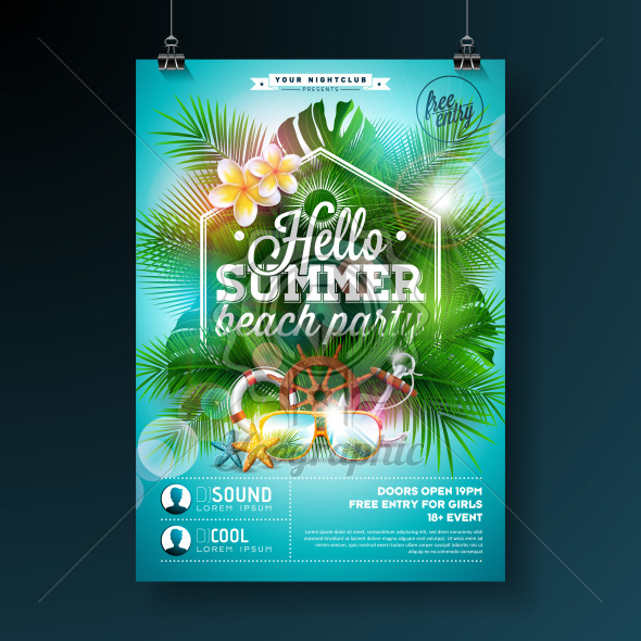 Summer Beach Party Flyer Design with flower, lifebelt and sunglasses on blue background. Vector Summer Design template with nature floral elements, tropical plants and typograpy letter on blue cloudy sky background for banner, flyer, invitation, poster. - Royalty Free Vector Illustration