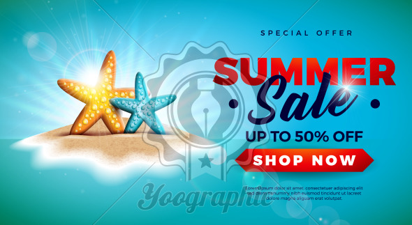 Summer Sale Design with Starfish on Tropical Island Background. Vector Special Offer Illustration with Blue Ocean Landscape for Coupon, Voucher, Banner, Flyer, Promotional Poster, Invitation or greeting card. - Royalty Free Vector Illustration