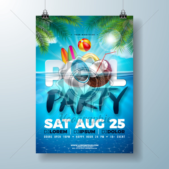 Summer pool party poster design template with palm leaves, water, beach ball and float on blue underwater ocean background. Vector holiday illustration for banner, flyer, invitation, poster. - Royalty Free Vector Illustration