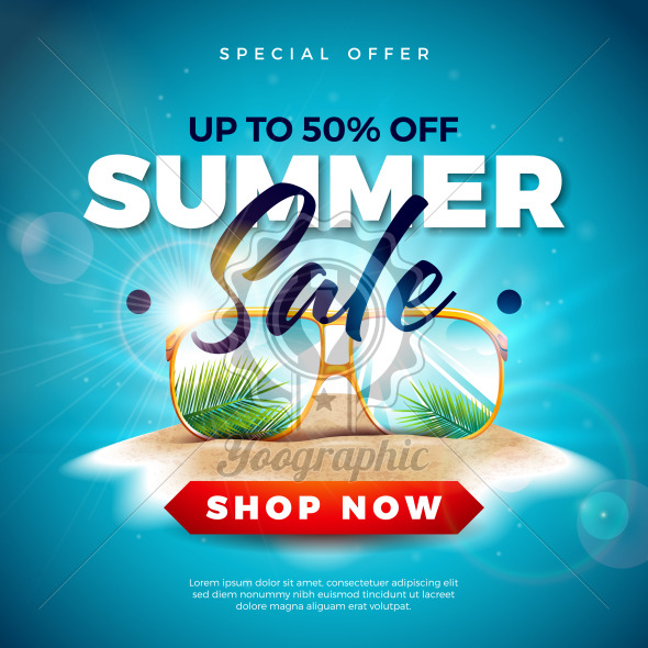 Summer Sale Design with Exotic Palm Leaves in Sunglasses on Tropical Island Background. Vector Special Offer Illustration with Blue Ocean Landscape for Coupon, Voucher, Banner, Flyer, Promotional Poster, Invitation or greeting card. - Royalty Free Vector Illustration