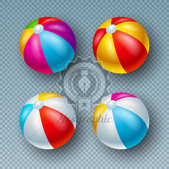 Vector Illustration with Colorful Beach Ball Collection Isolated on Transparent Background. Vector Holiday Design Elemets with Inflated Beach Ball Set for Banner, Flyer, Invitation, Brochure, Party Poster or Greeting Card. - Royalty Free Vector Illustration