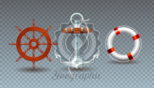 Vector Illustration with Steering Wheel, Anchor and Lifebelt Collection Isolated on Transparent Background. Vector Holiday Design with Sea Sipping Elements Set for Banner, Flyer, Invitation, Brochure, Party Poster or Greeting Card. - Royalty Free Vector Illustration