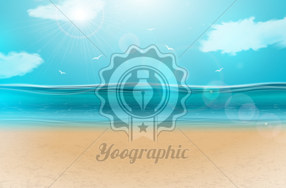 Vector blue ocean landscape background design with cloudy sky. Summer illustration with sea scene and sandy beach for banner, flyer, invitation, brochure, party poster or greeting card - Royalty Free Vector Illustration