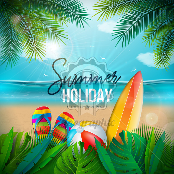 Vector Summer Holiday Illustration with Beach Ball, Palm Leaves, Surf Board and Typography Letter on Blue Ocean Landscape Background. Summer Vacation Design for Banner, Flyer, Invitation, Brochure, Party Poster or Greeting Card. - Royalty Free Vector Illustration