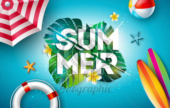 Vector Summer Holiday Illustration with Flower and Tropical Palm Leaves on Ocean Blue Background. Typography Letter, Lifebelt, Beach Ball and Surf Board on Paradise Island for Banner, Flyer, Invitation, Brochure, Poster or Greeting Card. - Royalty Free Vector Illustration