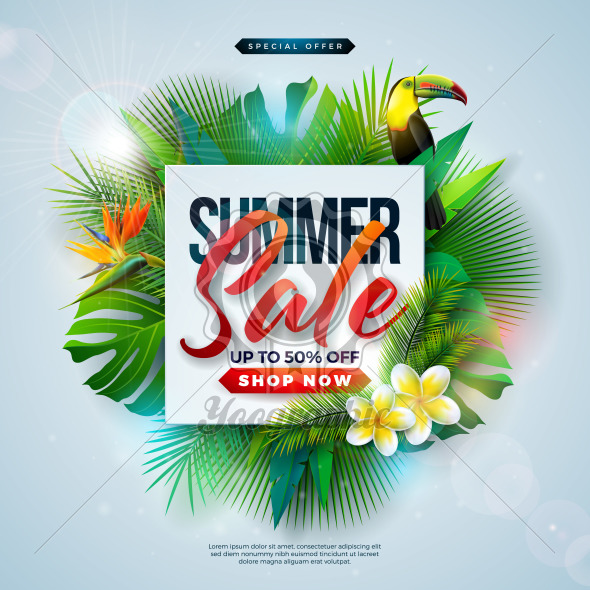 Summer Sale Design with Flower, Beach Holiday Elements and Exotic Leaves on Blue Background. Tropical Floral Vector Illustration with Special Offer Typography for Coupon, Voucher, Banner, Flyer, Promotional Poster, Invitation or greeting card. - Royalty Free Vector Illustration