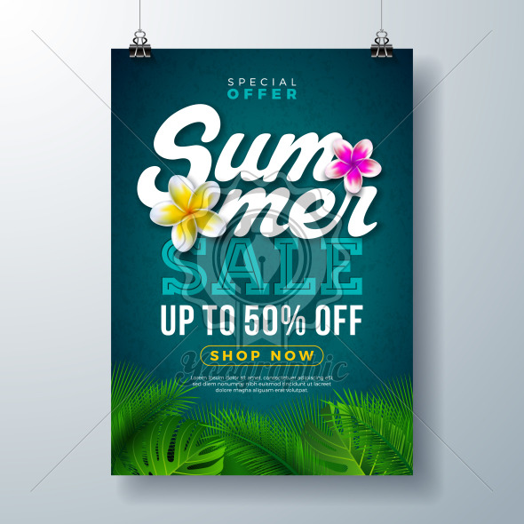 Summer Sale Poster Design Template with Flower and Exotic Palm Leaves on Blue Background. Tropical Floral Vector Illustration with Special Offer Typography for Coupon, Voucher, Banner, Flyer, Promotional Poster, Invitation or greeting card. - Royalty Free Vector Illustration