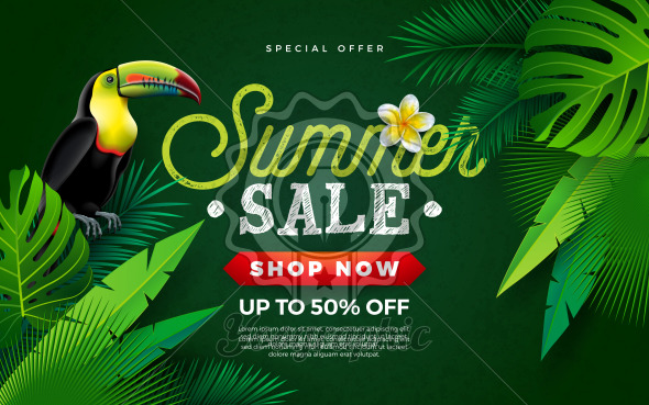 Summer Sale Design with Flower, Toucan Bird and Tropical Palm Leaves on Green Background. Vector Holiday Illustration with Special Offer Typography Letter for Coupon, Voucher, Banner, Flyer, Promotional Poster, Invitation or Greeting Card - Royalty Free Vector Illustration