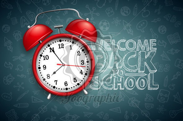 Back to school design with red alarm clock and typography on black chalkboard background. Vector education concept illustration for greeting card, banner, flyer, invitation, brochure or promotional poster. - Royalty Free Vector Illustration