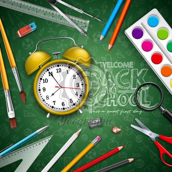 Back to school design with yellow alarm clock and typography on green chalkboard background. Vector illustration with education elements for greeting card, banner, flyer, invitation, brochure or promotional poster. - Royalty Free Vector Illustration