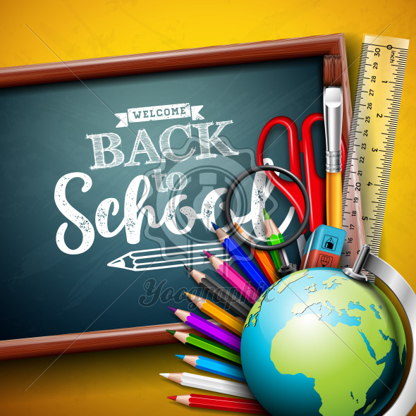 Back to school design with globe, magnifying glass, scissors, ruler and typography letter on yellow background. Vector education concept illustration with chalkboard for greeting card, banner, flyer, invitation, brochure or promotional poster. - Royalty Free Vector Illustration