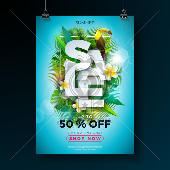 Summer Sale Poster Design Template with Flower, Toucan Bird and Exotic Leaves on Blue Background. Tropical Floral Vector Illustration with Special Offer Typography for Coupon, Voucher, Banner, Flyer, Promotional Poster, Invitation or greeting card. - Royalty Free Vector Illustration