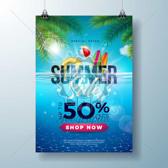Summer Sale Poster Design Template with Beach Holiday Elements and Exotic Leaves on Underwater Blue Ocean Background. Tropical Vector Illustration with Special Offer Typography for Coupon, Voucher, Banner, Promotional Flyer, Invitation or greeting card. - Royalty Free Vector Illustration