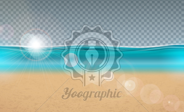 Vector blue ocean landscape design with transparent background. Summer illustration with sea scene and sandy beach for banner, flyer, invitation, brochure, party poster or greeting card. - Royalty Free Vector Illustration