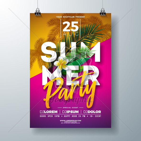 Vector Summer Party Flyer Design with Flower and Tropical Palm Leaves on Pink and Yellow Background. Summer Holiday Celebration Illustration with Exotic Plants and Typography Letter for Banner, Flyer, Invitation or Poster. - Royalty Free Vector Illustration