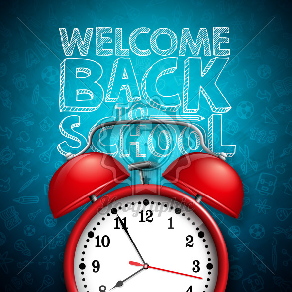 Back to school design with red alarm clock and typography on dark chalkboard background. Vector education concept illustration for greeting card, banner, flyer, invitation, brochure or promotional poster. - Royalty Free Vector Illustration