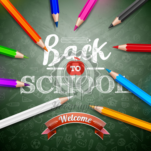 Back to school design with colorful pencil and typography lettering on green chalkboard background. Vector education concept illustration with hand drawn doodles for greeting card, banner, flyer, invitation, brochure or promotional poster. - Royalty Free Vector Illustration