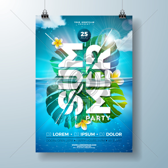 Summer party flyer design template with tropical palm leaves and flower on blue underwater ocean background. Vector holiday illustration for banner, invitation or celebration poster. - Royalty Free Vector Illustration