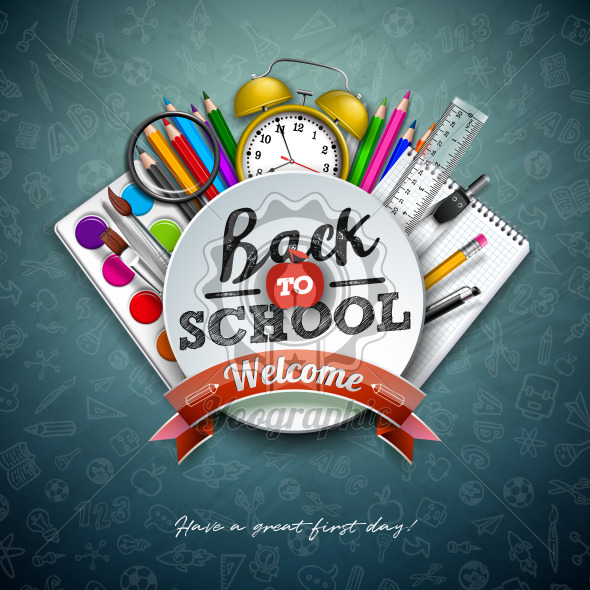 Back to school design with colorful pencil, scissors, ruler and typography letter on chalkboard background. Vector illustration with education elements and hand drawn doodles for greeting card, banner, flyer, invitation, brochure or promotional poster. - Royalty Free Vector Illustration